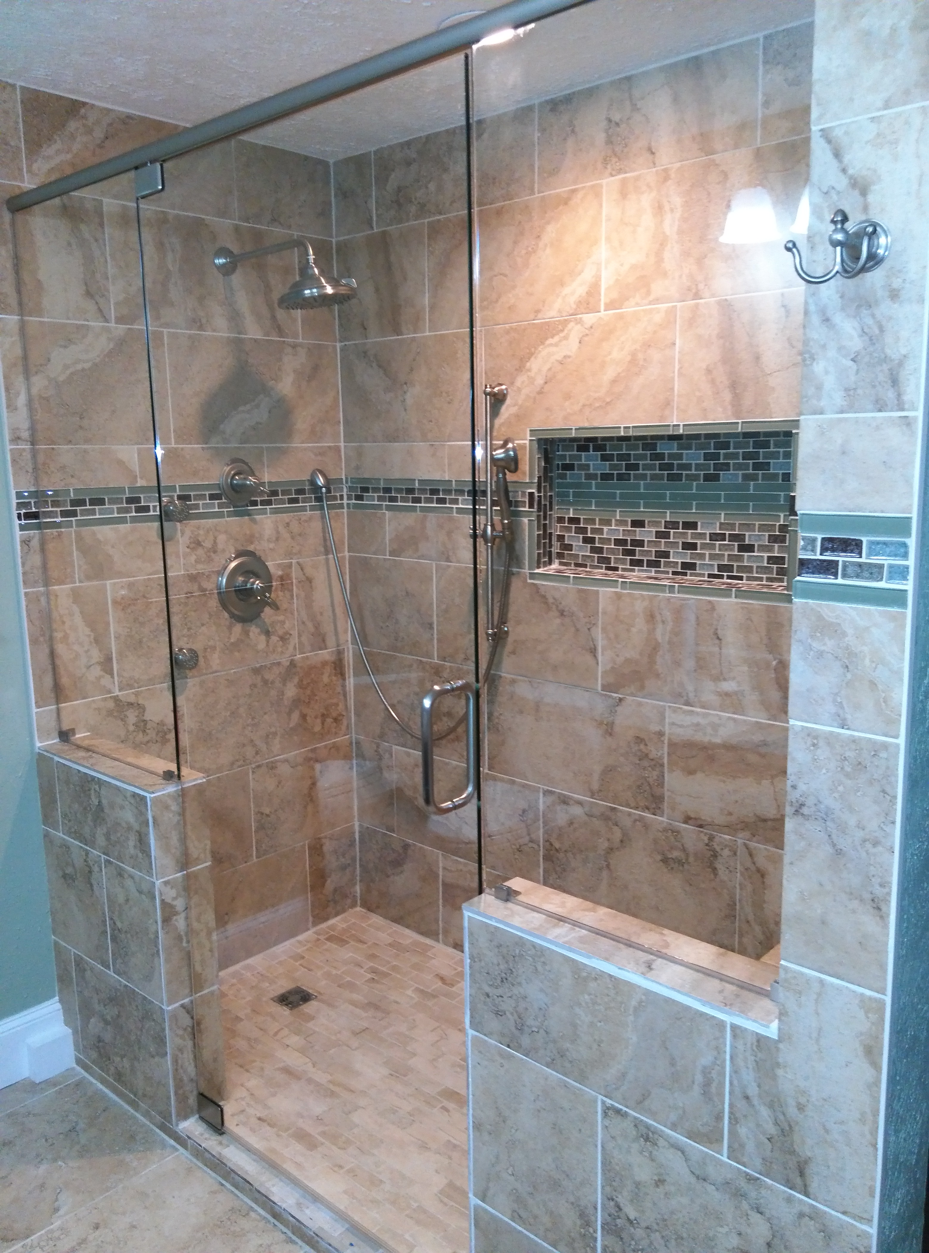 Frameless Shower Door With Header And Pivot Hinges With In