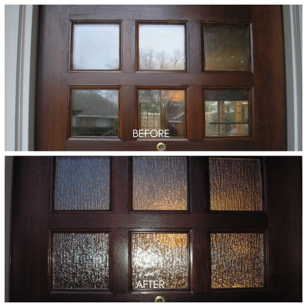 Our customer wanted more privacy at her front door so we replaced the clear glass with rain glass and she was very happy with the results.