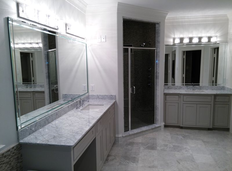 Complete bathroom – mirrors with beveled edge strips, and new semi-frameless shower