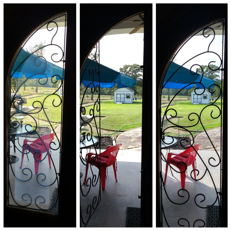 Fogged window replacement in custom entry door with ornamental iron