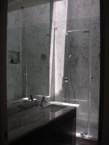 Complete bathroom – vanity mirror and frameless shower enclosure